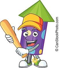 Funny smiling dot fireworks rocket cartoon mascot playing baseball