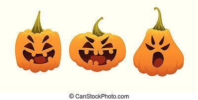 Funny Smiling Halloween Pumpkins in different forms in flat cartoon style isolated on a white background for your design, prints and greeting cards. Set of emotional faces. Halloween Symbol. Emoji