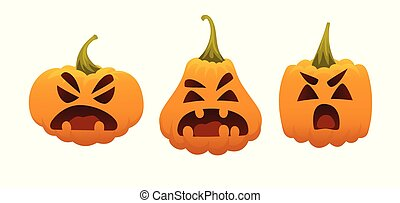 Funny Smiling Halloween Pumpkins. Vector illustration of Halloween Symbol in different forms on white background. Round, square and triangular gourds. Set of emotional faces. Emoji