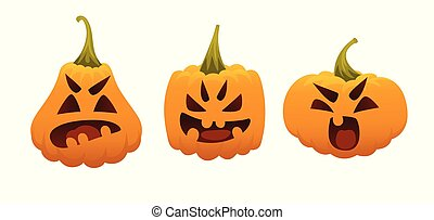 Funny Smiling Halloween Pumpkins. Vector illustration of Halloween Symbol in different forms on white background for your design, prints and greeting cards. Set of emotional faces. Emoji