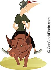 Funny smiling man rides on the fat pig illustration