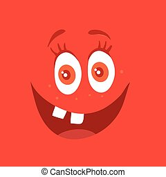 Funny Smiling Monster Red Smile Bacteria Character