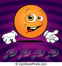 Funny smiling ping pong ball on the violet background
