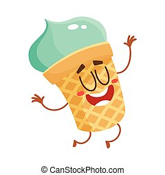Funny smiling pistachio ice cream character in wafer cup