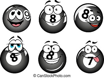 Funny smiling pool and billiard balls characters set for...