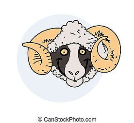 Funny smiling ram face