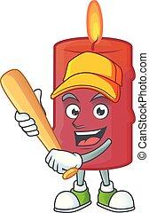 Funny smiling red candle cartoon mascot playing baseball