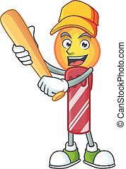 Funny smiling red stripes candle cartoon mascot playing baseball