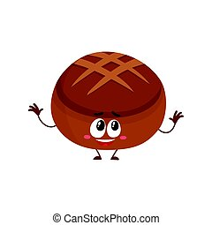 Funny smiling round whole wheat, dark, brown bread loaf character