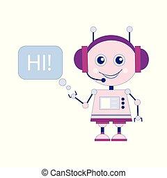 Funny smiling vector robot, chat bot say hi