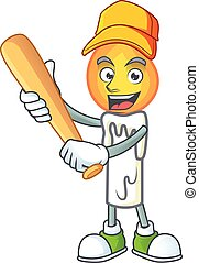 Funny smiling white candle cartoon mascot with baseball