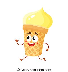 Funny smiling yellow ice cream character in wafer cup