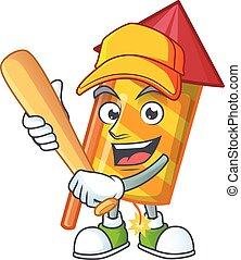 Funny smiling yellow stripes fireworks rocket cartoon mascot playing baseball
