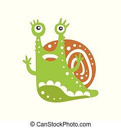 Funny snail character raising its hands, cute green mollusk hand drawn vector Illustration