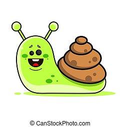 Funny Snail Children Drawing For Your Web Design Illustration