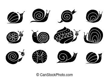 Funny snail logo for your design. Vector illustration