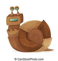 Snail robot cartoon Vector Illustration