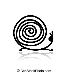Funny snail sketch for your design