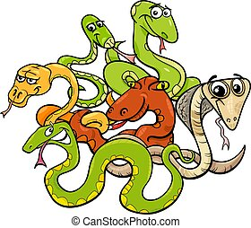 funny snakes cartoon animal characters