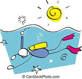 Funny snorkeling guy