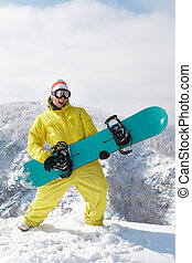 Funny snowboarder - View of sportsman with snowboard ...
