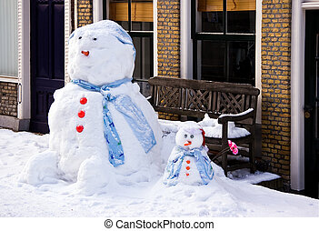 Funny Snowman and son