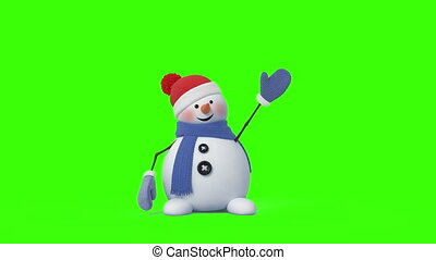 Funny Snowman. Beautiful 3d animation, 4K.