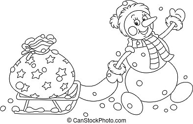 Funny snowman carrying a bag of gifts