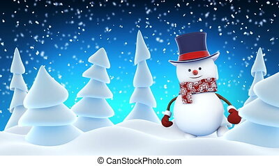 Funny Snowman High-Hat Going on Stage Waving and Smiling in...