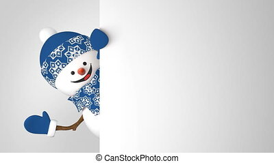 Funny Snowman in Blue Cap Greeting with Hand and Smiling on White Background. Beautiful 3d Cartoon Animation Green Screen Alpha. Animated Greeting Card. Last Frames Looped. 4k Ultra HD 3840x2160