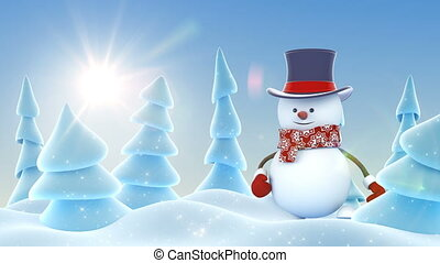 Funny Snowman in Cylinder Hat Greeting with Hand and Smiling...