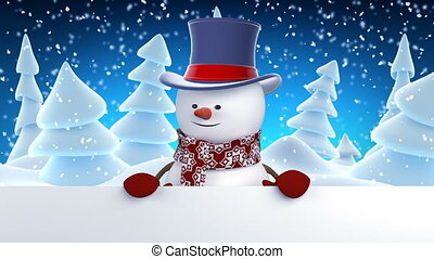 Funny Snowman in High-Hat Greeting with Hands and Smiling. Beautiful 3d Cartoon Animation with Green Screen. Animated Greeting Card. Merry Christmas and Happy New Year Concept. Full HD 1920x1080.