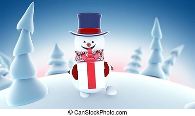 Funny Snowman in High-hat Walking in Winter Forest Holding a...