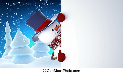Funny Snowman in High-Hat Waving and Laughing at White Board. Beautiful 3d Cartoon Animation with Green Screen. Animated Greeting Card. Merry Christmas and Happy New Year Concept. Full HD 1920x1080.