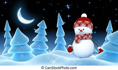 Funny Snowman in Red Cap Greeting with Hand and Smiling in Night Winter Forest. Beautiful 3d Cartoon Animation. Animated Greeting Card. Merry Christmas Happy New Year Concept. 4k Ultra HD 3840x2160.