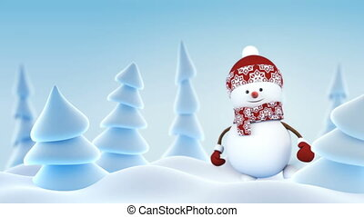 Funny Snowman in Red Hat Greeting with Hand and Smiling in...