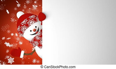 Funny Snowman in Red Hat Greeting with Hand and Smiling on...