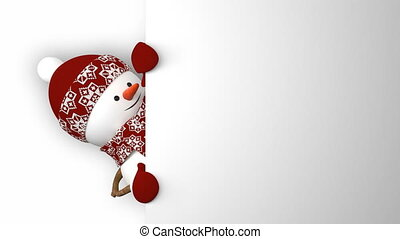 Funny Snowman in Red Hat Greeting with Hands and Smiling....