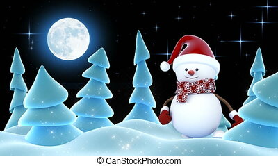 Funny Snowman in Red Santa Hat Greeting with Hands and Smiling in Forest. Beautiful 3d Cartoon Animation. Animated Greeting Card. Merry Christmas and Happy New Year Concept. 4k Ultra HD 3840x2160.