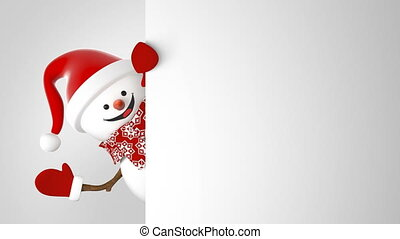 Funny Snowman in Santa Claus Cap Greeting with Hands and Smiling. Beautiful 3d Cartoon Animation Green Screen. Animated Greeting Card. Merry Christmas Concept. Last Frames Loop-able. 4k UHD 3840x2160