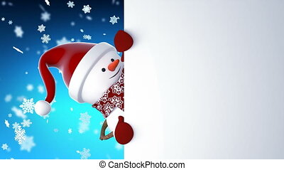Funny Snowman in Santa Claus Cap Greeting with Hands and...
