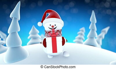 Funny Snowman in Santa Claus Cap Walking in Winter Forest with a Gift. Beautiful Looped 3d Cartoon Animation. Animated Greeting Card. Merry Christmas and Happy New Year Concept. Full HD 1920x1080.