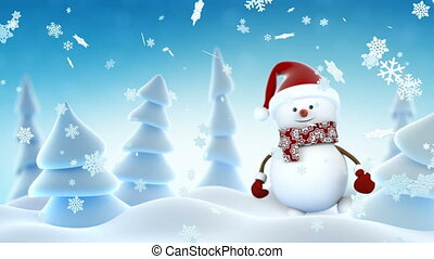 Funny Snowman in Santa Claus Cap Waving and Smiling in Winter Forest. Beautiful Looped 3d Cartoon Animation. Alpha Matte Green Screen. Merry Christmas and Happy New Year Concept. Full HD 1920x1080.