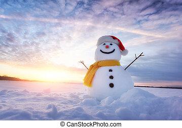 Funny snowman in Santa hat