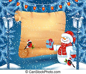 Funny snowman in Santa hat holds parchment for advertise discounts, sales or an invitation to celebrate Christmas