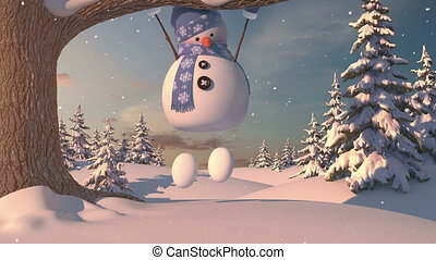 Funny Snowman in the Forest. Beautiful 3d animation