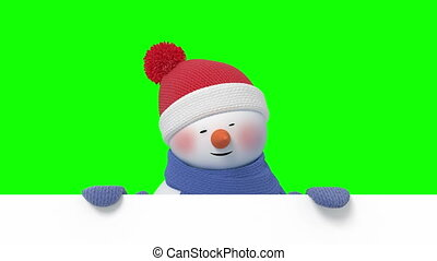 Funny Snowman Looks Out and Greeting on a Green Background....
