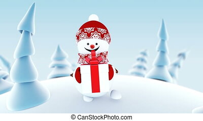 Funny Snowman Walking in Winter Forest Holding a Present Box Smiling. Beautiful Looped 3d Cartoon Animation. Animated Greeting Card. Merry Christmas and Happy New Year Concept. Full HD 1920x1080.