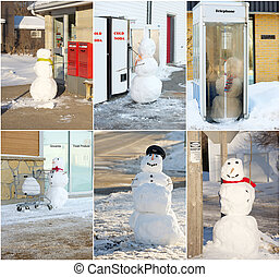 Funny snowmen collage. - Humorous Christmas card face design...