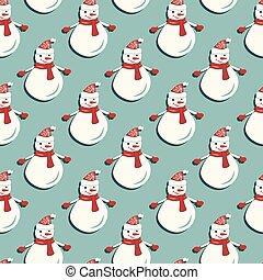 Funny Snowmen. Seamless pattern
